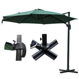10 Ft Outdoor Patio Offset Umbrella With Stand Green 200g/sq