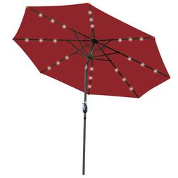 10FT Garden Pool Patio Solar Powered Lighted Umbrella 24 LED