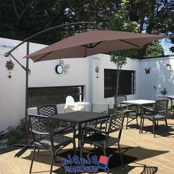 10Ft Outdoor Patio Cantilever Umbrella Offset Cranking and T