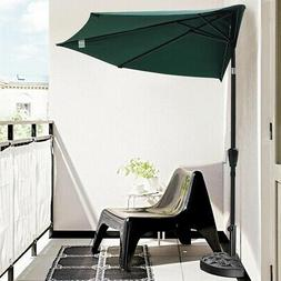 10ft Patio Half Umbrella with Base Stand Outdoor Wall Sun Sh