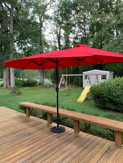 15 Ft Patio Double Sided Umbrella Outdoor Market Party w/Cra