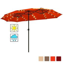 15Ft Patio Solar Powered Double-Sided Market Umbrella with 3