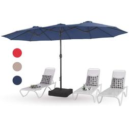 15ft Patio Umbrella Double-Sided Outdoor Market Twin Umbrell
