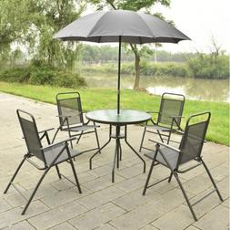 6 Piece Patio Dining Set Outdoor Furniture Folding Chairs Ta