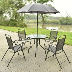 6Pcs Outdoor Garden Patio Folding Round Table and Chair with