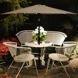9 Ft. Patio Umbrella Easy Tilt with Crank and 18 Solar Power