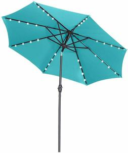 9 Ft Patio Umbrella Solar Powered LED Lighted Fade-Resistant