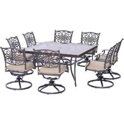 9 Piece Dining Set Swivel Chairs Glass Top Table Outdoor Pat