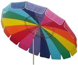 Beach Umbrella with Sand Anchor Auger Rainbow Color 8ft foot