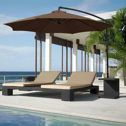 Brown Patio Umbrella, Stand, Offset 10' Hanging Deck Backyar