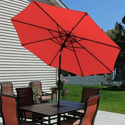 Sunnydaze Burnt Orange Aluminum 9 Foot Patio Umbrella with T