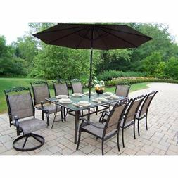 11-Pc Outdoor Dining Set in Coffee