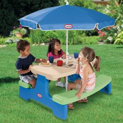 Little Tikes Easy Store Kids Picnic Table with Umbrella, Out