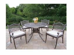 Oakland Living Elite 5 Piece Outdoor Patio Dining Set with C
