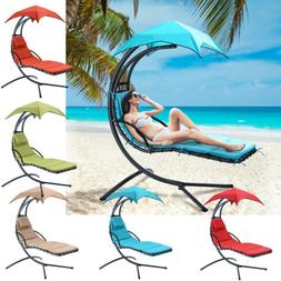 Hanging Chaise Lounge Chair with Canopy Umbrella for Backyar