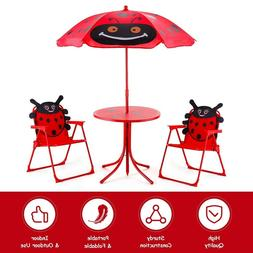 Kids Patio Folding Table and Chairs Set Beetle Pattern Style