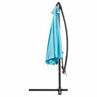 10ft Outdoor Deck Umbrella Off Set Cantilever Hanging Aqua