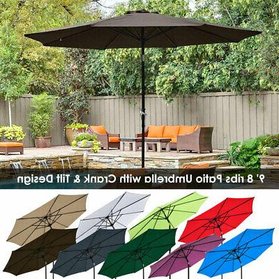 9ft 8Ribs Outdoor Patio Umbrella Crank Tilt Market Yard Beac