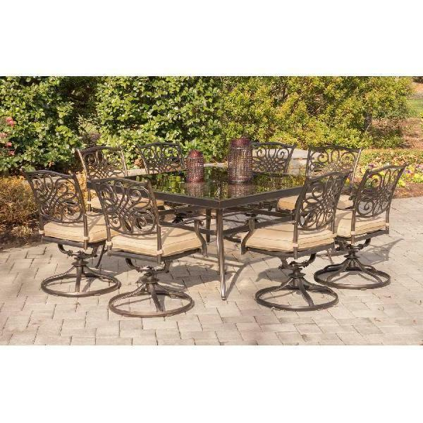 9 Set Swivel Chairs Glass Table Outdoor Furniture