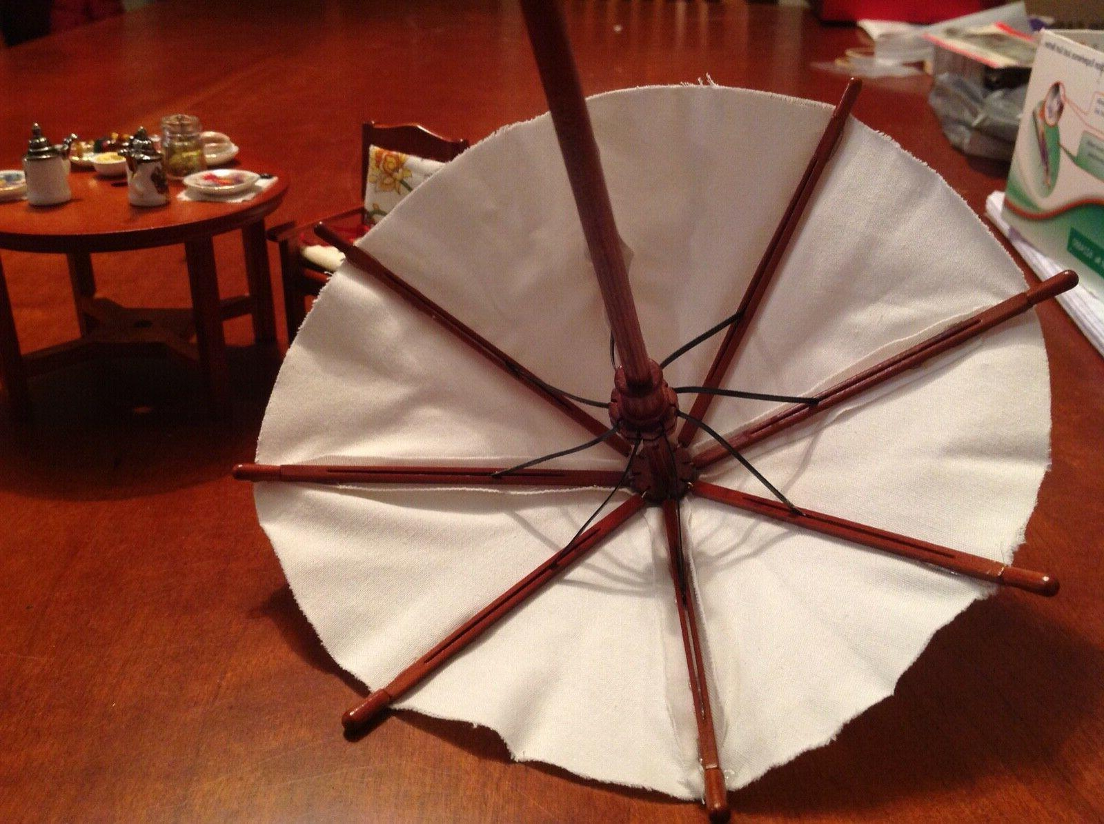 Dollhouse Miniatures Table Umbrella Two Chairs