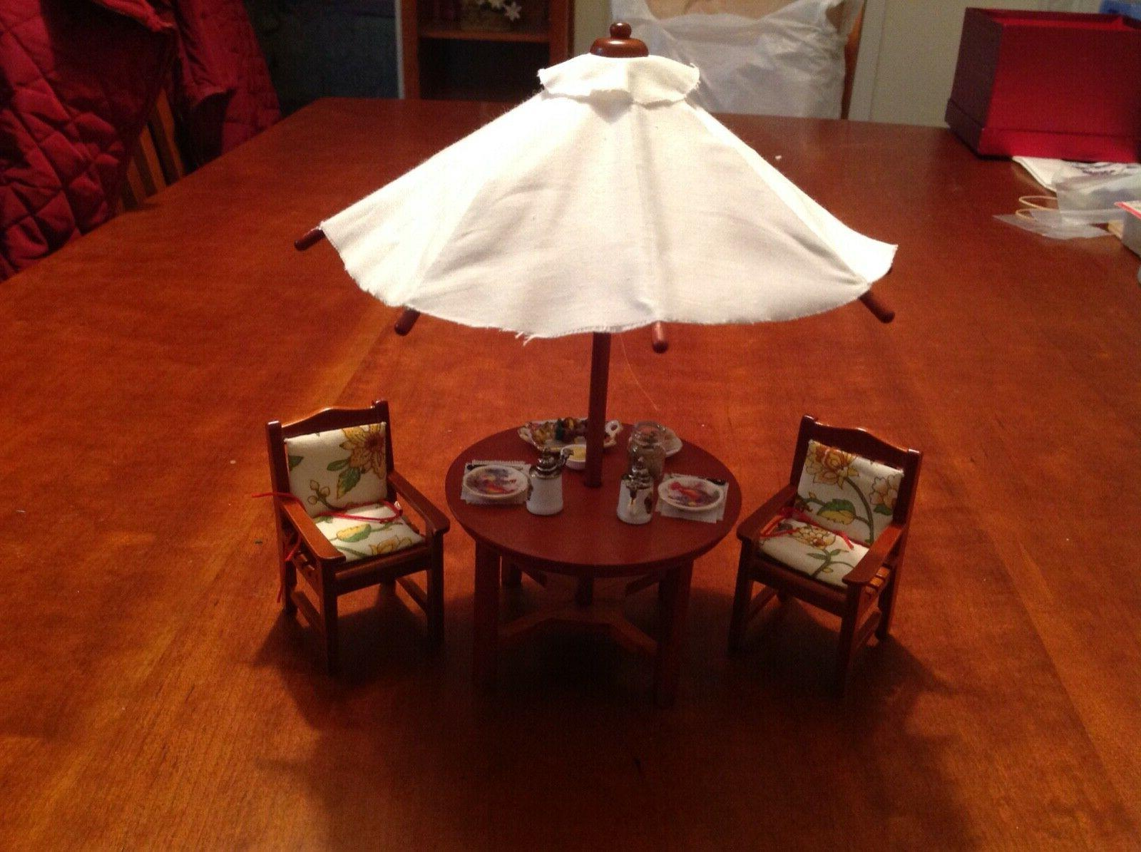 dollhouse miniatures reutters patio table with umbrella