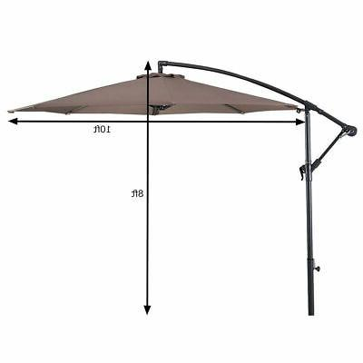 10' Ft Hanging Patio Sun Shade Offset Outdoor W/ Cross Base