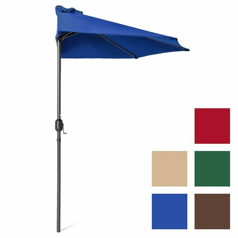 Half Patio Umbrella 9ft Steel with Water Polyester