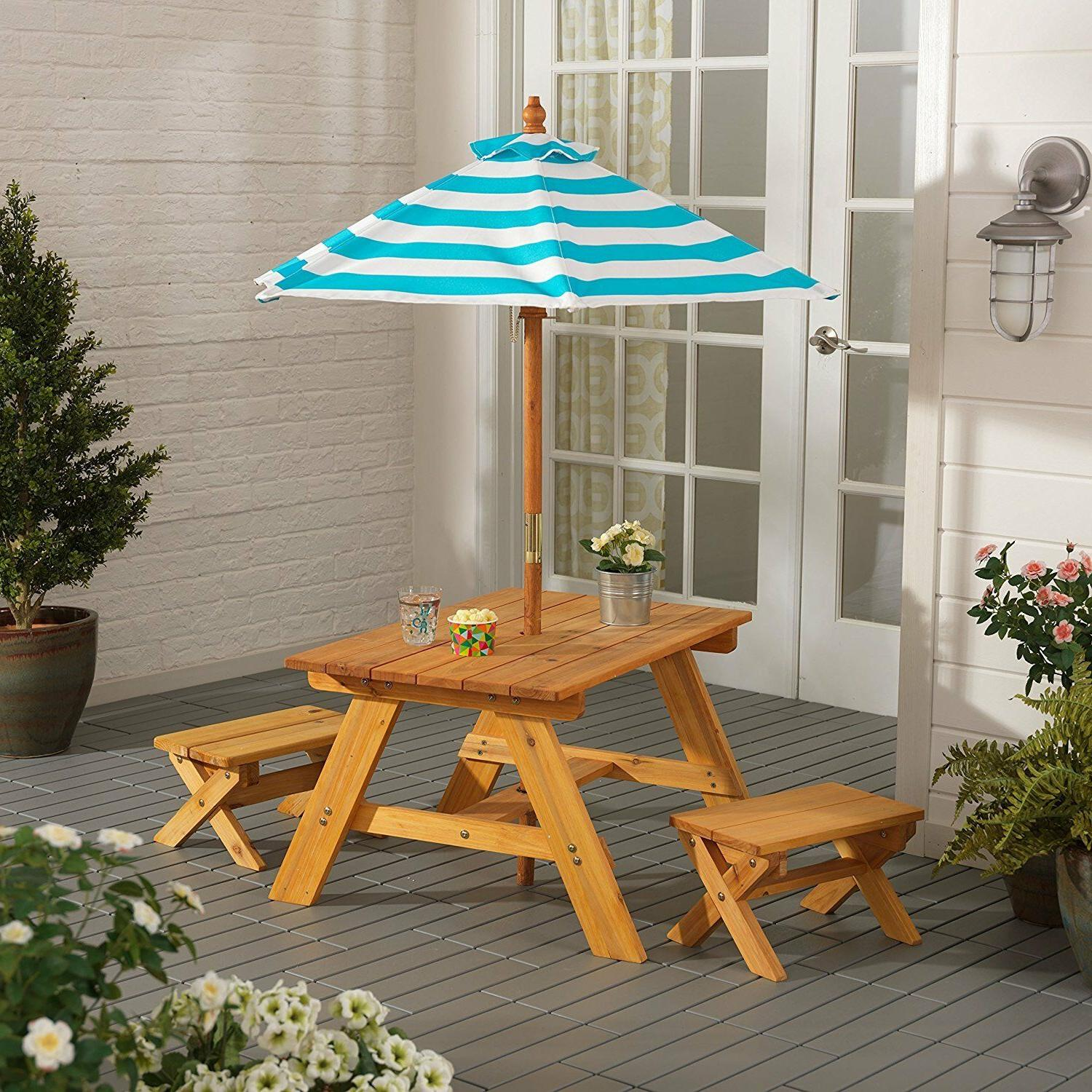 Outdoor Furniture 4Pc Kids Picnic Patio Dining Set with Umbr