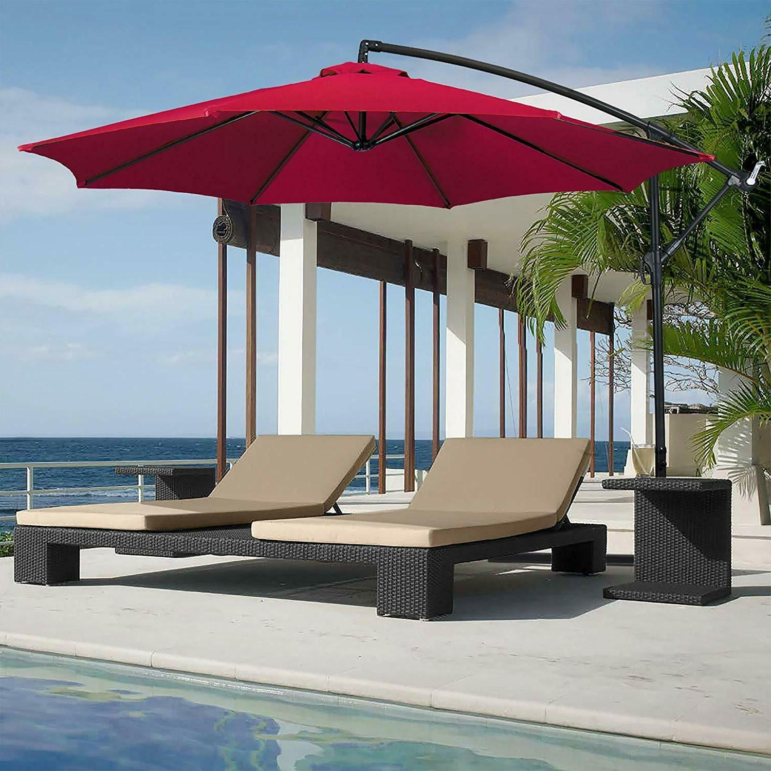 Burgundy Patio Umbrella, Stand, Offset 10' Hanging Deck Back