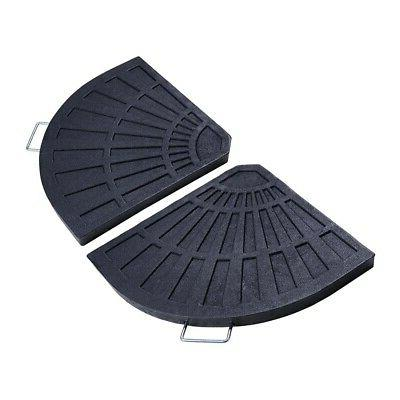 2x Fan Shaped Resin Beton Base Stand Black for Outdoor Patio