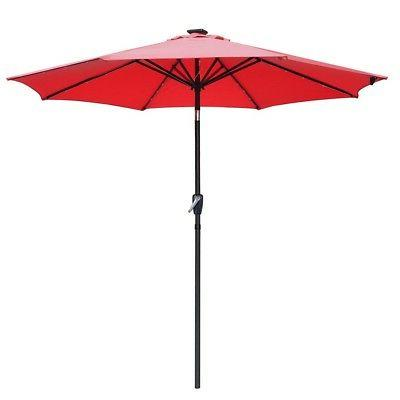 9' FT 8-rib Patio Outdoor Umbrella Led Tilt