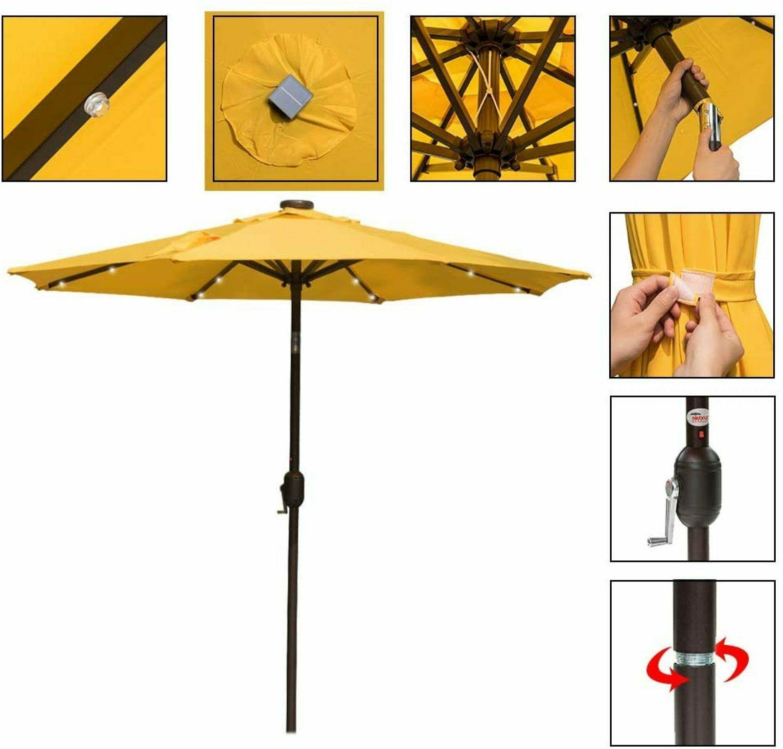 Patio Table 7 ft 24 LED Lighted Umbrellas Yellow