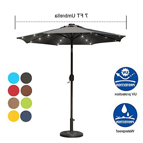 Sundale Solar Powered Lighted Umbrella Table Market Umbrella with Crank and Push Tilt for Pool, 8 Steel Polyester