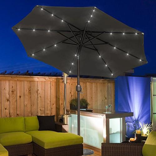 Sundale 7 ft Solar Powered 24 LED Lighted Umbrella Market with and Push Button for Garden, Deck, Pool, 8 Polyester