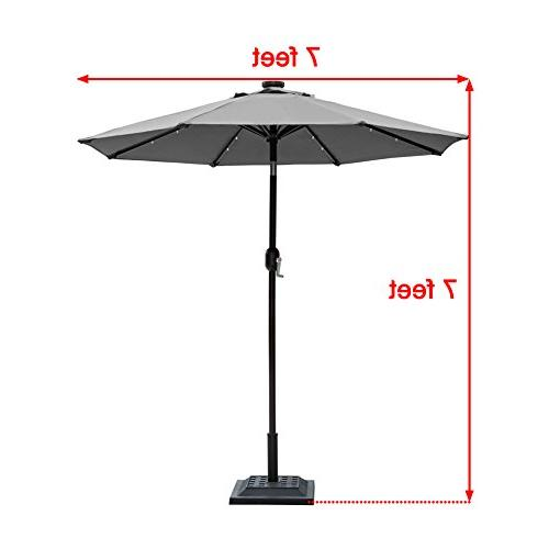 Sundale 7 Solar Powered Lighted Patio Table Market Umbrella Crank and Push Button for Pool, Ribs, Polyester Canopy
