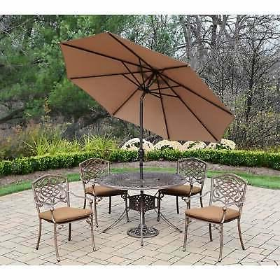 Sunbrella 7 pc Patio Set with Stackable Chairs, Umbrella, Br
