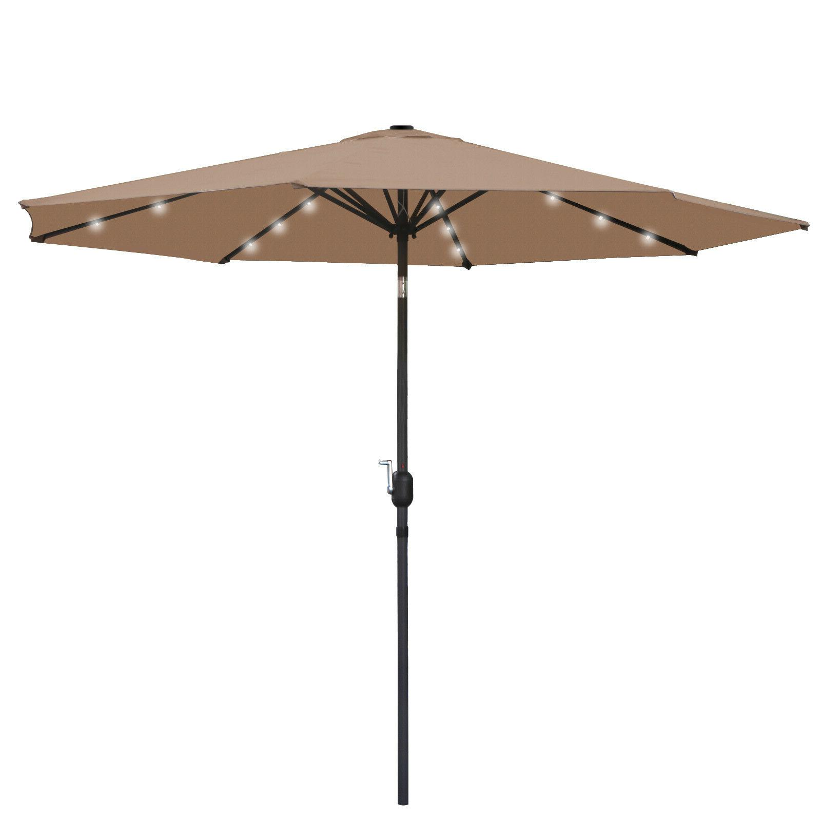 Umbrella LED Patio Steel Tilt Outdoor