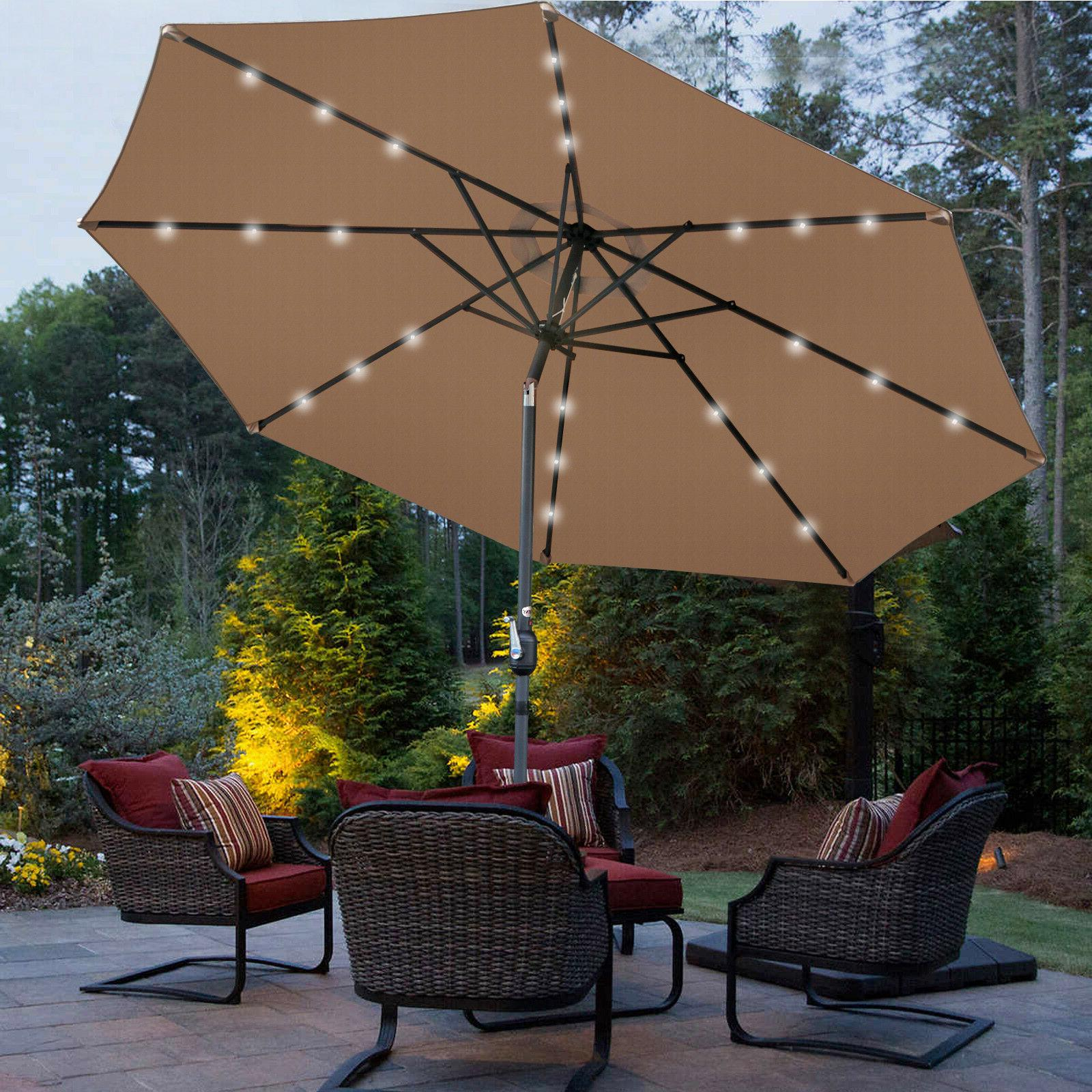 Tan Umbrella LED Steel Tilt W/ Crank Outdoor
