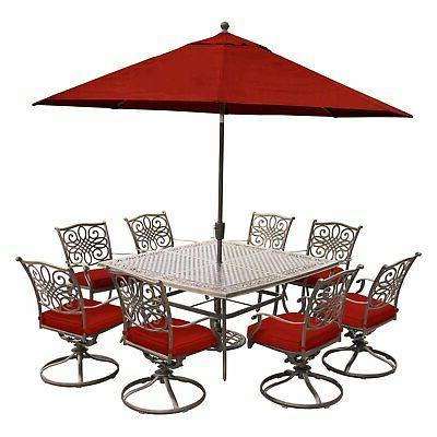 Hanover Aluminum Piece Square Dining Set with