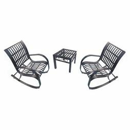 Oakland Living Noble Wrought Iron 3 Piece Patio Chat Set wit