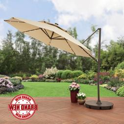 Olefin Patio Umbrella Steel Lighted Offset 11 foot with Base
