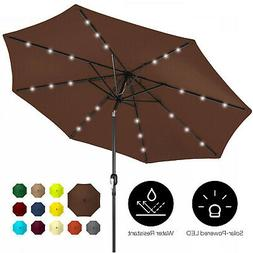 Outdoor 10ft Solar LED Lighted Patio Umbrella W/Tilt Adjustm