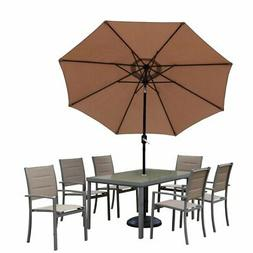 Oakland Living Padded Sling Aluminum Patio Dining Set with O