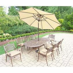 Patio Set with Table, 8 Cushioned Chairs, 9 ft Umbrella and