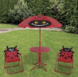 Red Outdoor Kid Patio Garden Table Folding Chairs Umbrella F