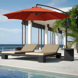 Red Patio Umbrella, Stand, Offset 10' Hanging Deck Backyard