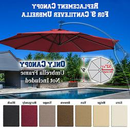 Replacement Canopy 9ft 8rib Patio Solar Hanging Cantilever U