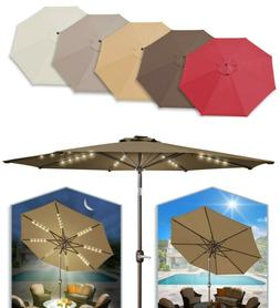 Solar Patio 6/7/8/9ft Umbrella LED Lighted 6/8 rib Market Ti
