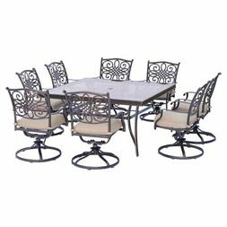 Hanover Traditions Aluminum 9 Piece Square Glass Top Patio D