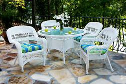 Tortuga Outdoor White Wicker Furniture 5 Piece Patio Dining